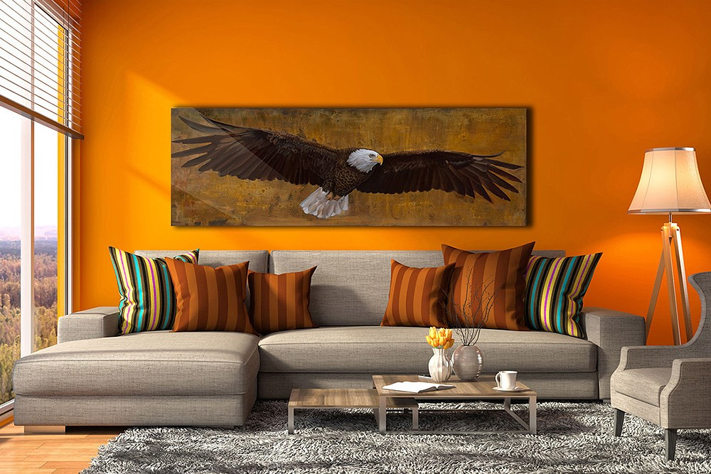 american freedom eagle in colorful living room