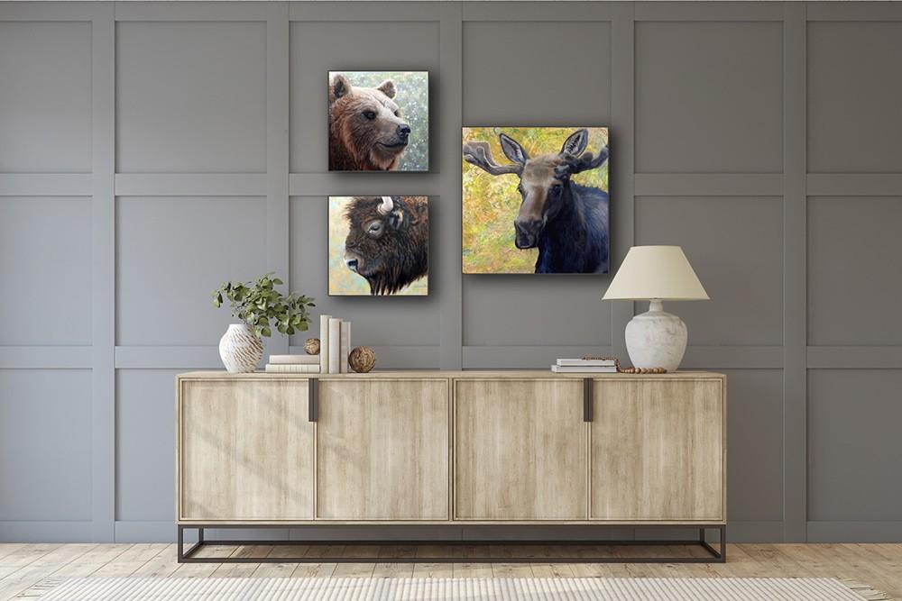bear bison moose in hallway