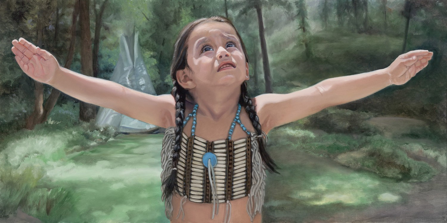 eagle child spreads his arms like wings