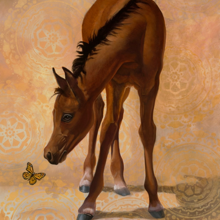 spring fling horse with butterfly