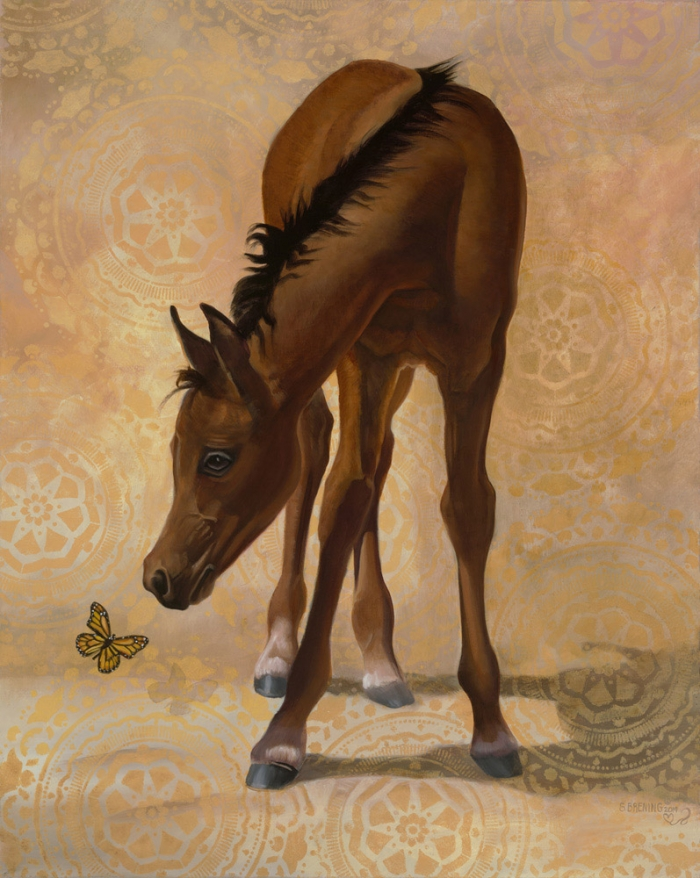 spring fling horse with a butterfly