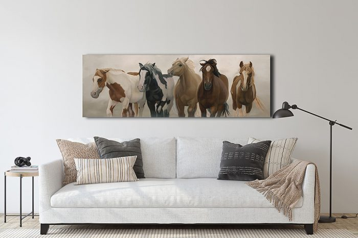 wild and free horses in living room
