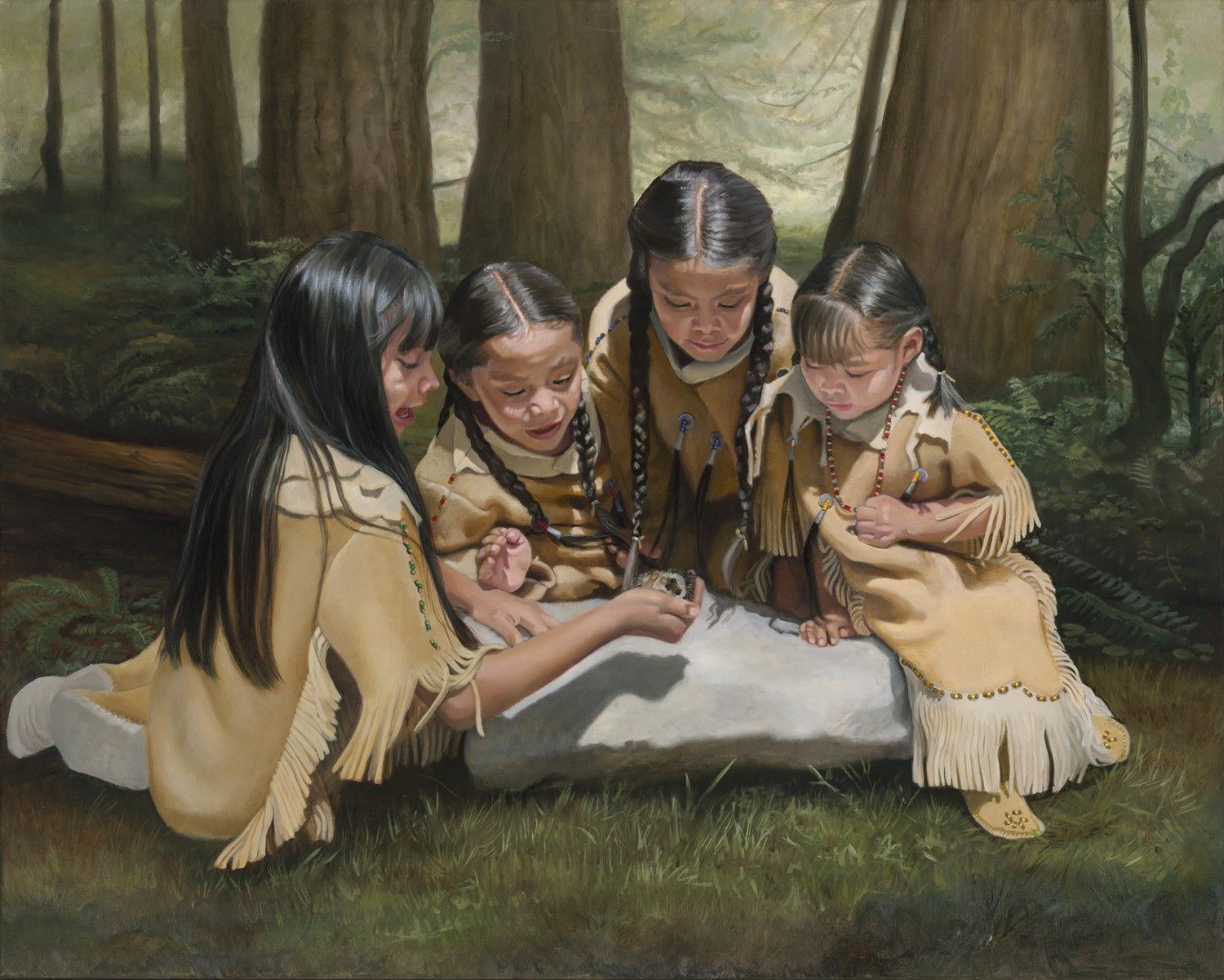 little indian girls in wonderment