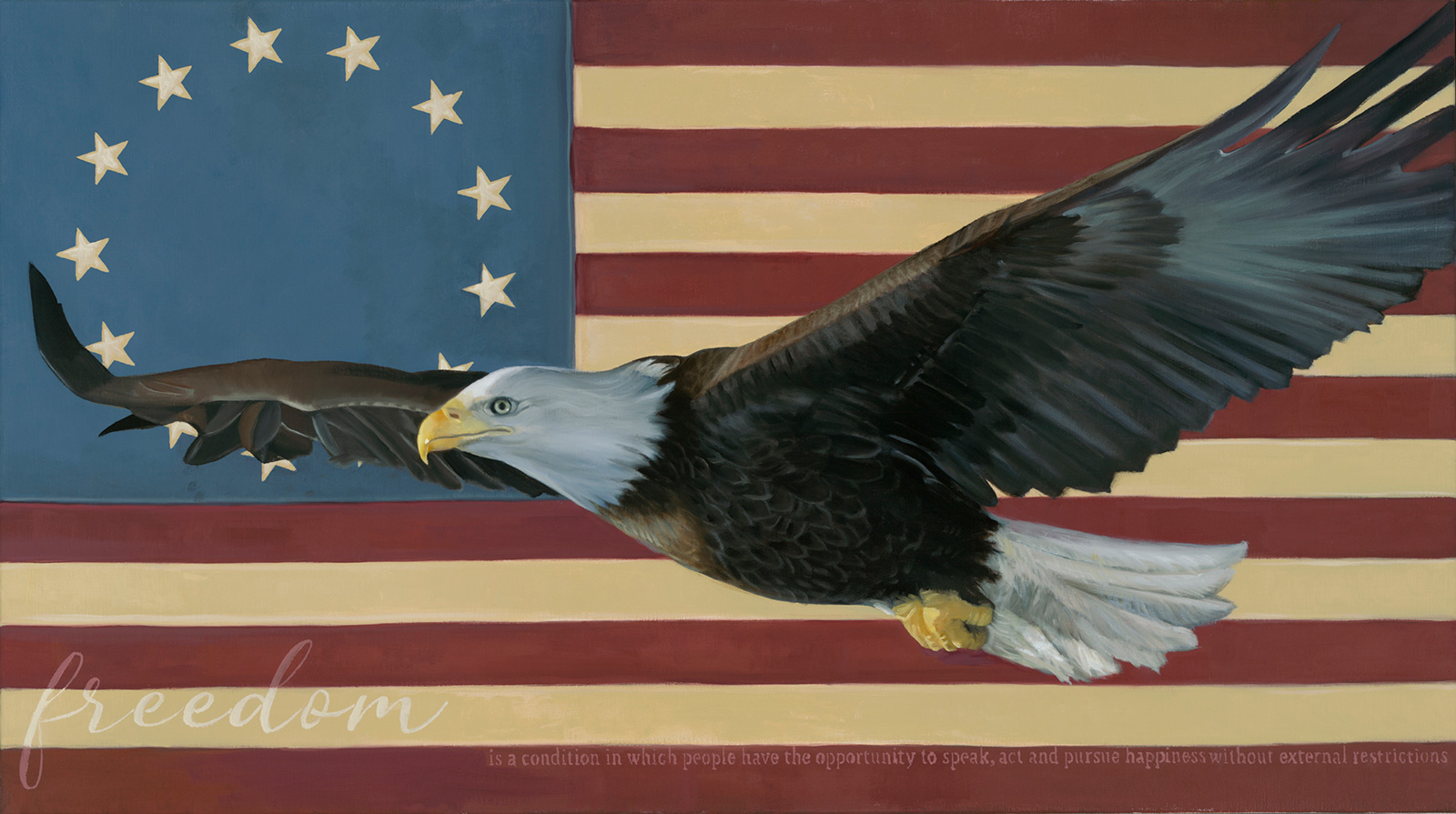american bald eagle with the flag stars and stripes